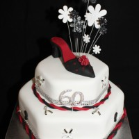 ladies birthday cake with heeled shoe on top