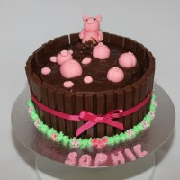 ladies chocolate birthday cake with pink pigs on top