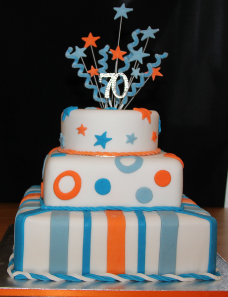 Male Birthday Cake Mans Striped 70th