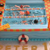 mans swimming pool birthday cake